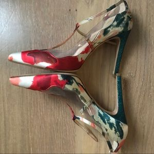 Shoes - Floral Satin High Heel Mary Janes